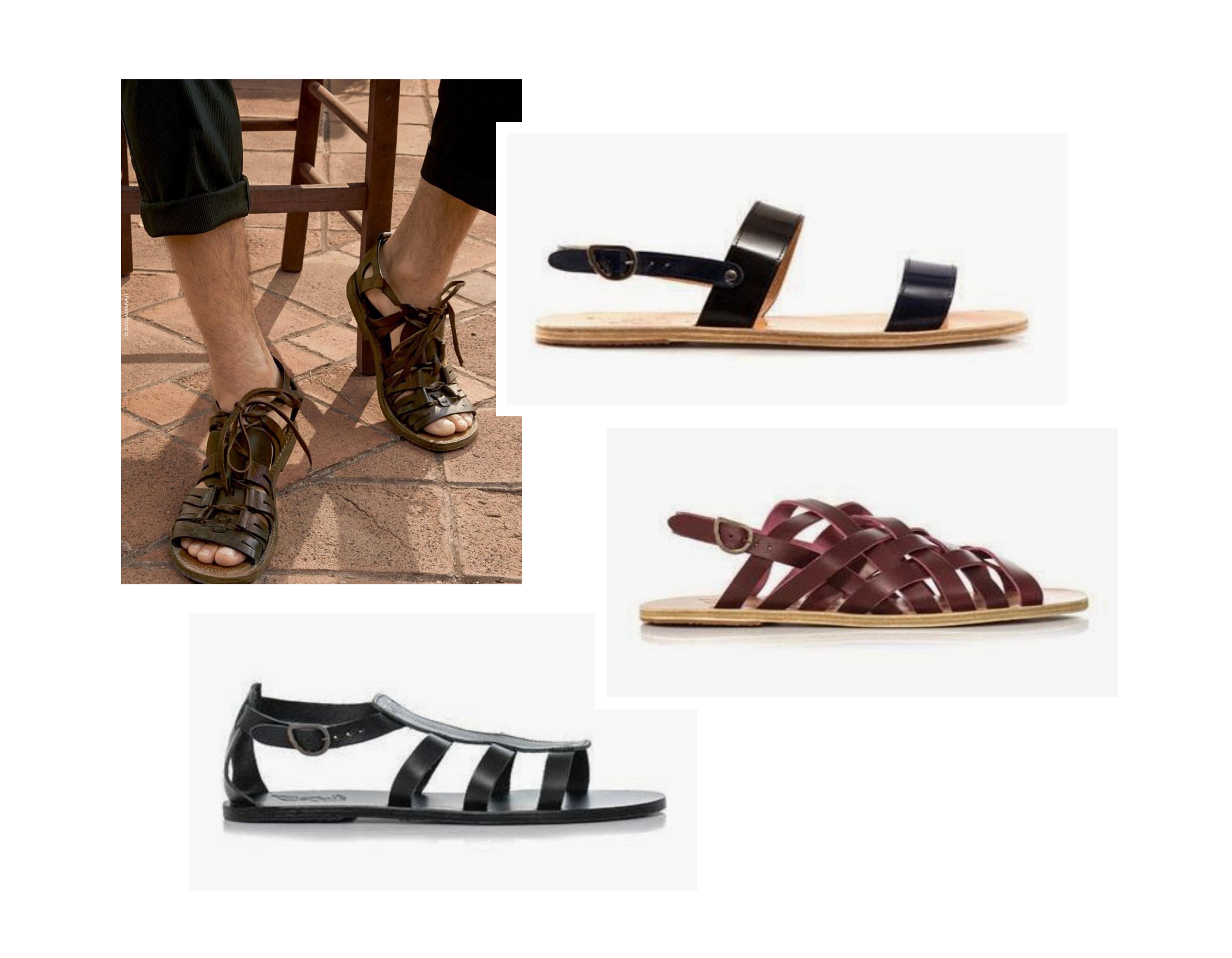 collage griekse sandalen